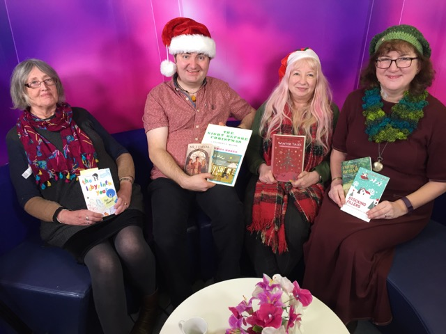 The Four of us authors - on the sofa, with our books ...